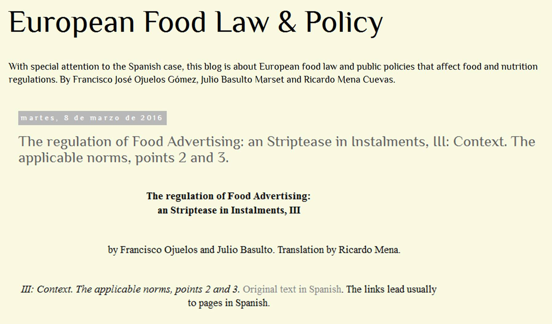 The Regulation of Food Advertising: a Striptease in Instalments, III: Context. The applicable norms, points 2 and 3