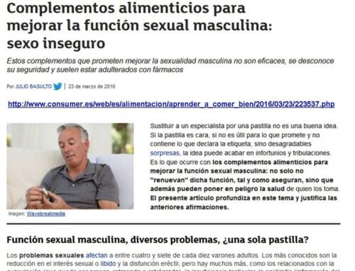 Complementos alimenticios para mejorar la función sexual masculina: sexo inseguro