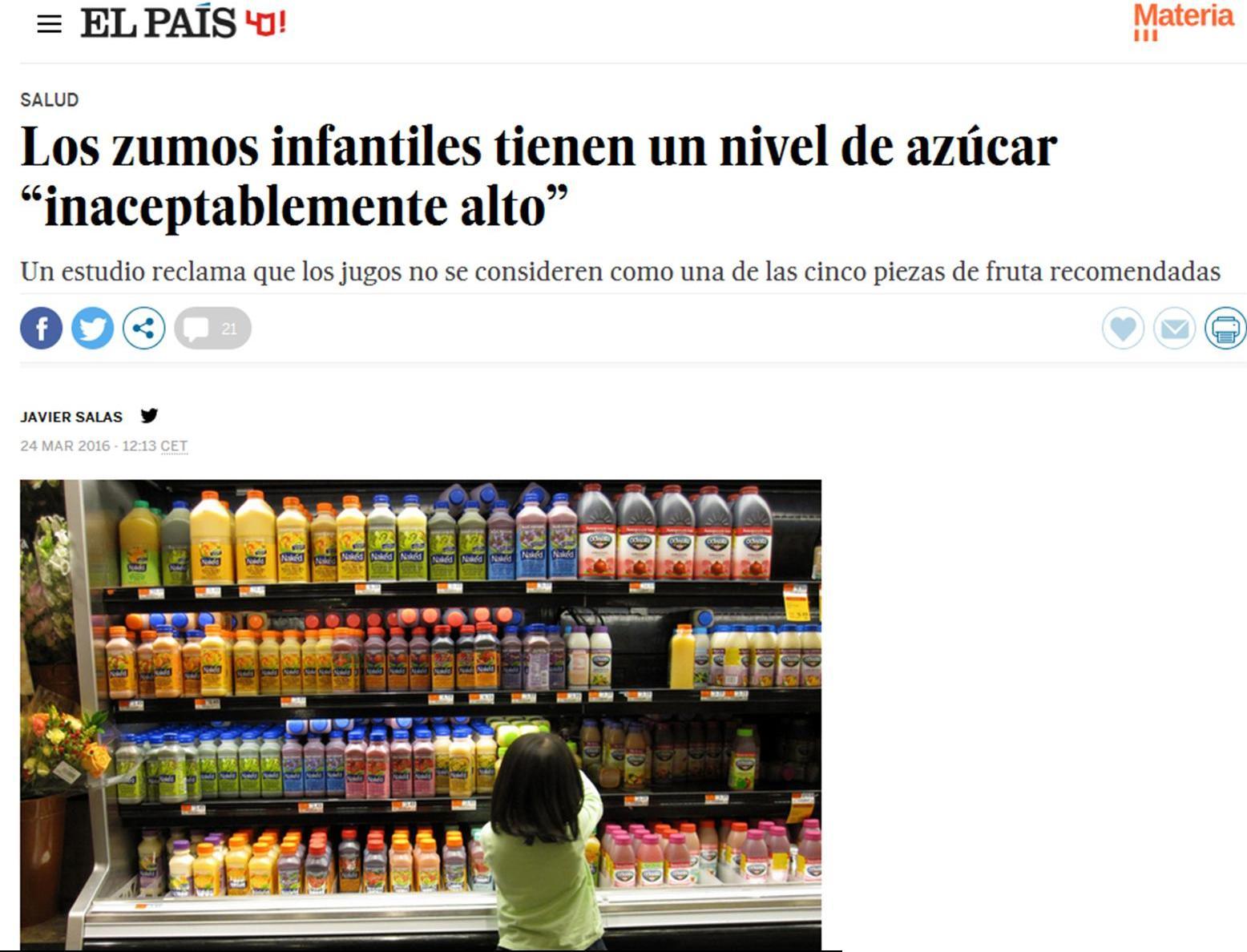 """Los zumos infantiles tienen un nivel de azúcar """"inaceptablemente alto"""" (entrevista en El País)"""