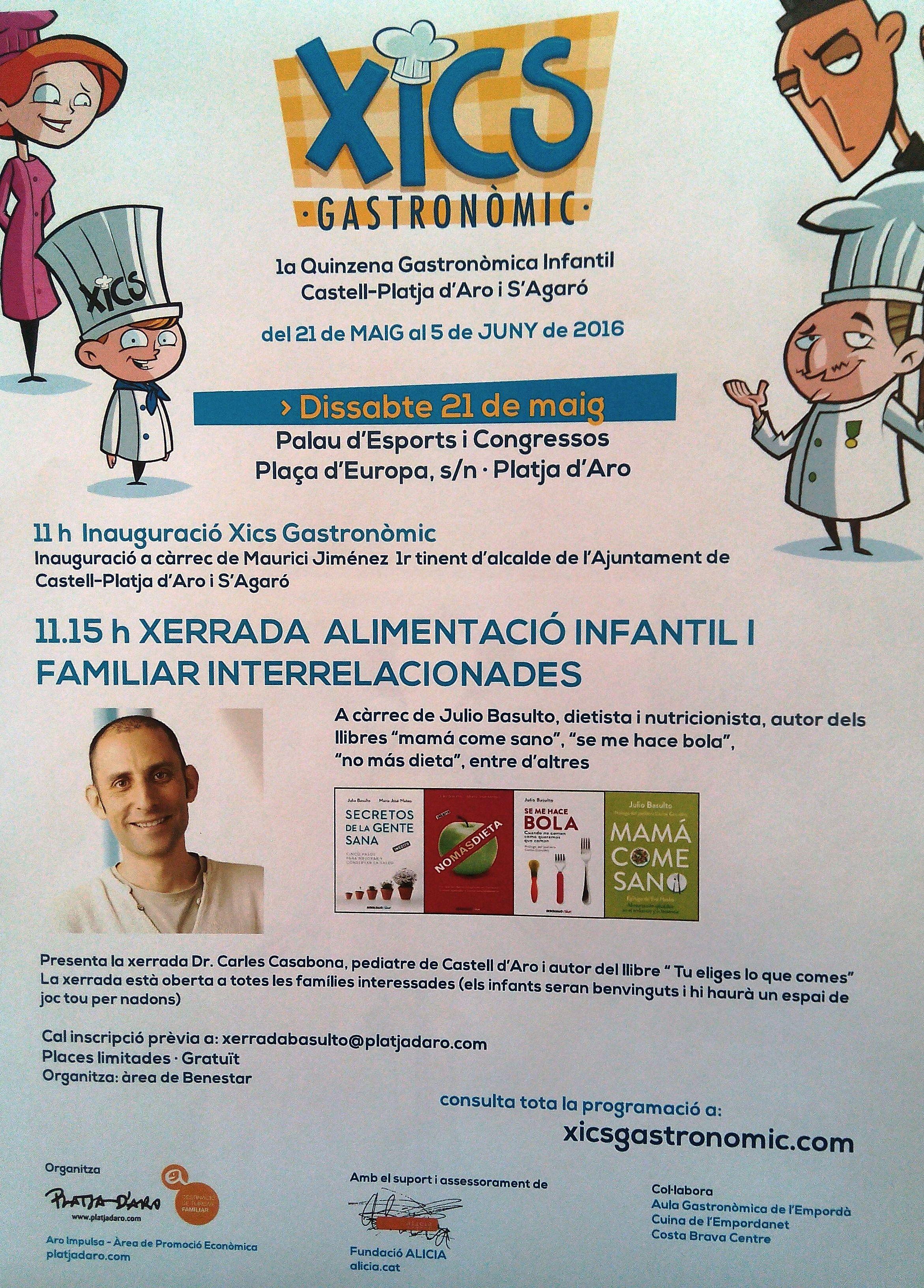 Conferencia en Platja d'Aro sobre alimentación infantil (21 de mayo)