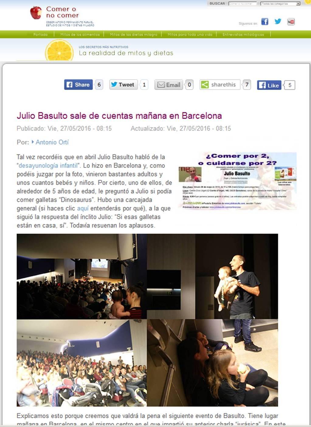 Julio Basulto sale de cuentas mañana en Barcelona (Antonio Ortí para Comer o no comer)