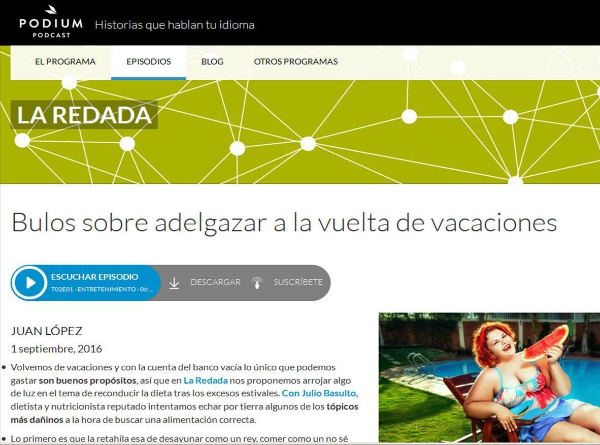 """Bulos sobre adelgazar a la vuelta de vacaciones (entrevista en """"La redada"""")"""