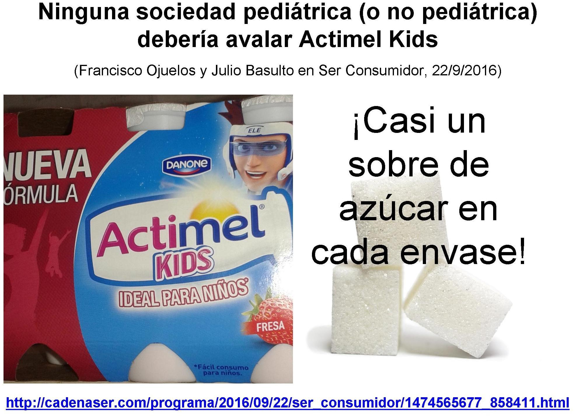 Ninguna sociedad pediátrica (o no pediátrica) debería avalar Actimel Kids
