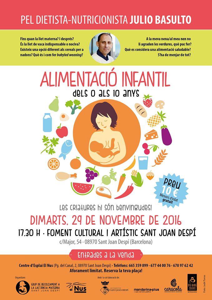 """Charla en Sant Joan Despí el 29/11/16, """"Alimentació infantil dels 0 als 10 anys"""""""