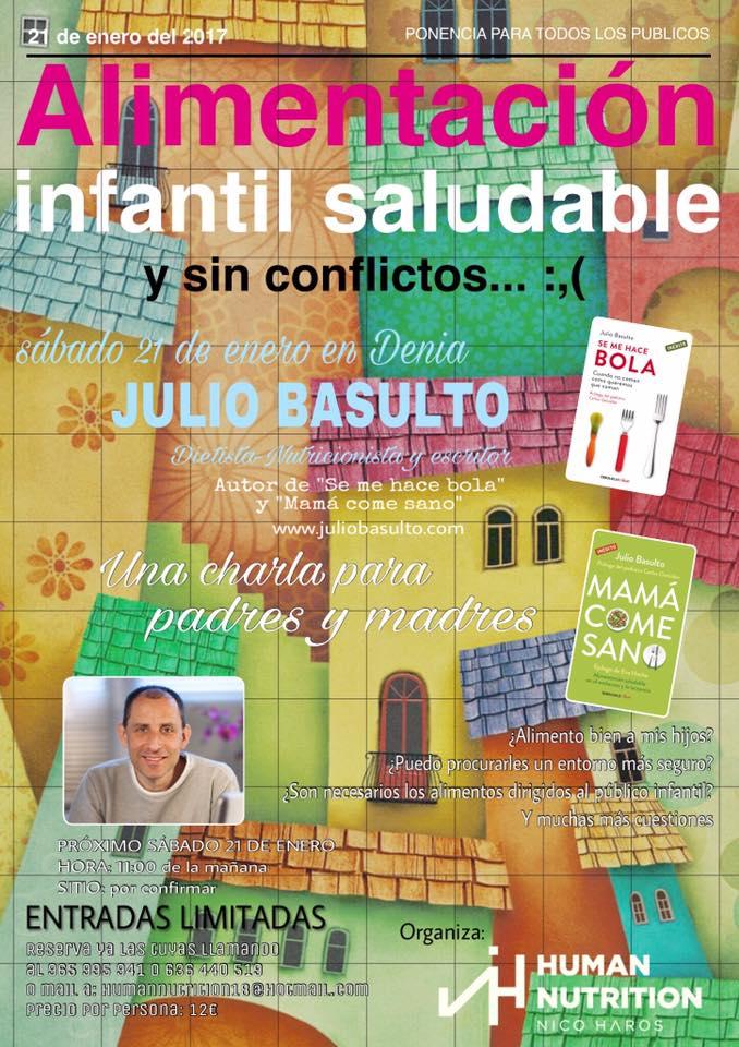 """Charla en Denia """"Alimentación infantil saludable y sin conflictos"""", 21/1/17"""