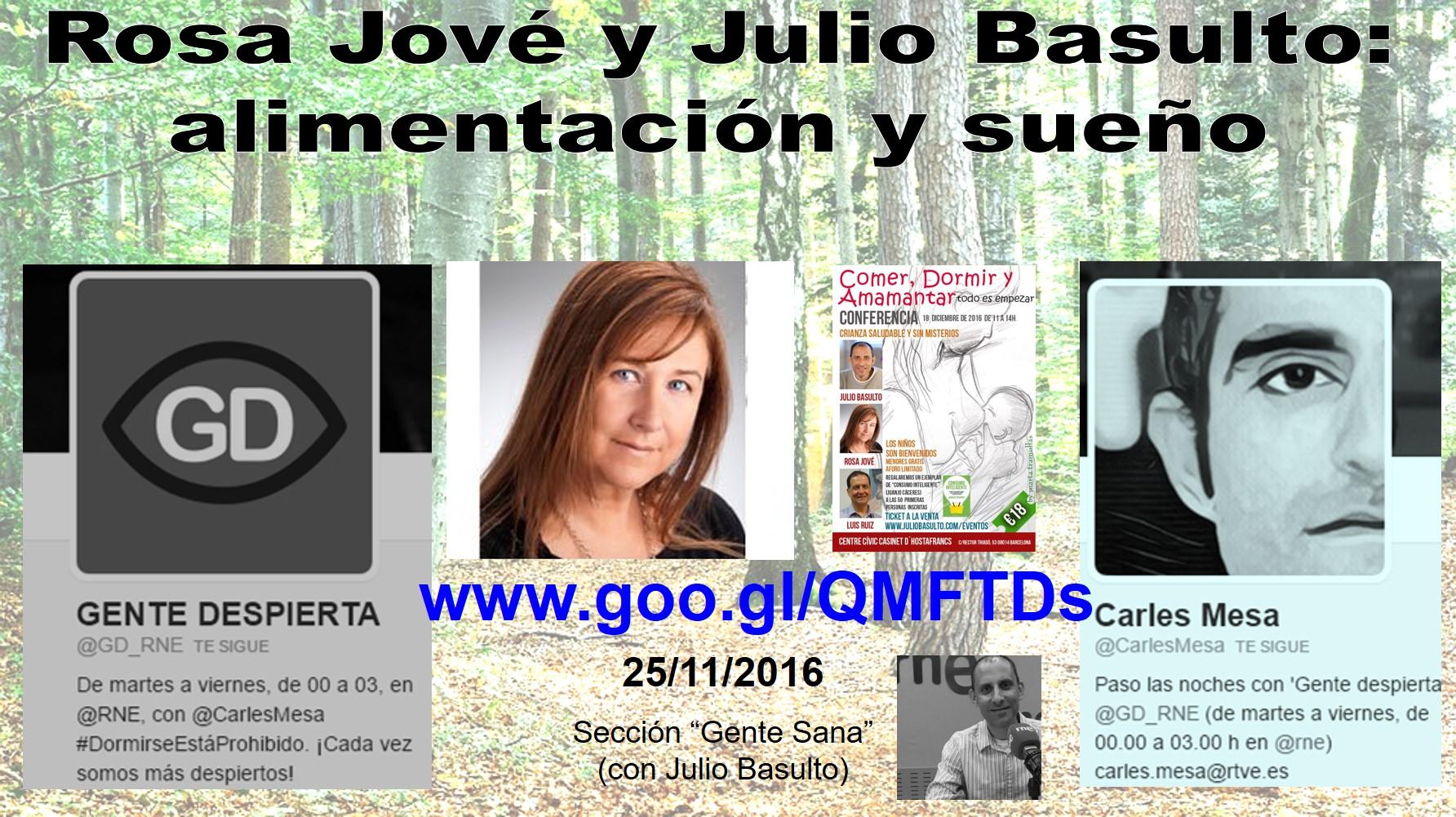 """Alimentación y sueño. Con Rosa Jové en """"Gente Sana"""" (podcast)"""