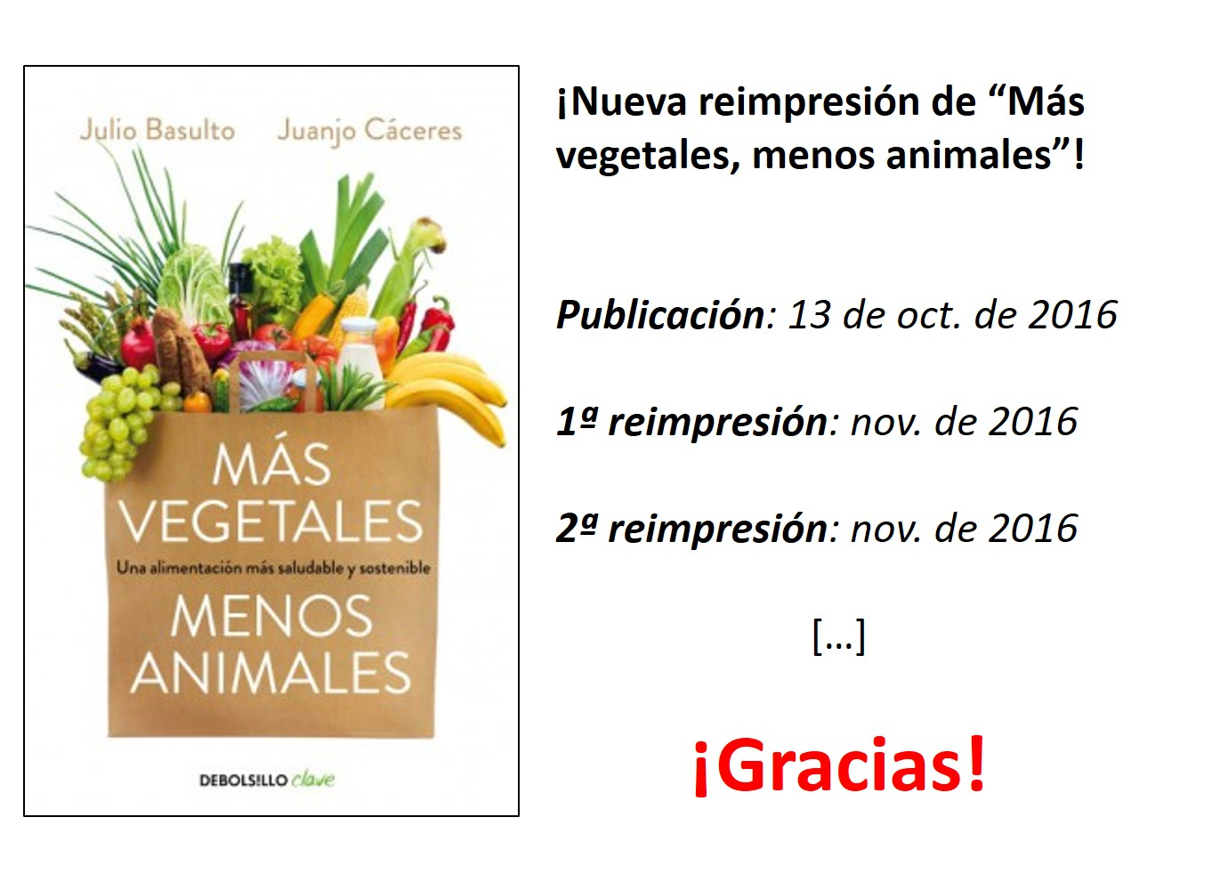 """¡Segunda reimpresión de """"Más vegetales, menos animales""""!"""