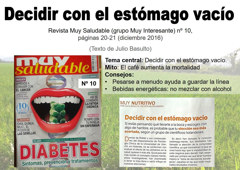 """Decidir con el estómago vacío (revista """"Muy Saludable"""" -Muy Interesante- número 10)"""