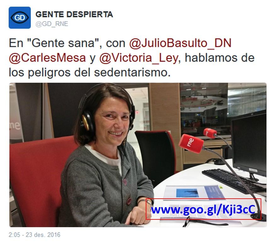 """Peligros del sedentarismo, con Victoria Ley en """"Gente Sana"""" (podcast)"""
