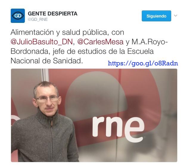"""Alimentación y salud pública, con el Dr. Miguel Ángel Royo-Bordonada en """"Gente sana"""" (Gente Despierta) (Podcast)"""
