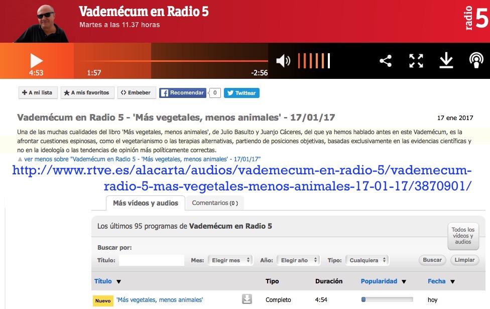 Más Vegetales, Menos Animales en Radio 5 (con Luis Lapuente)