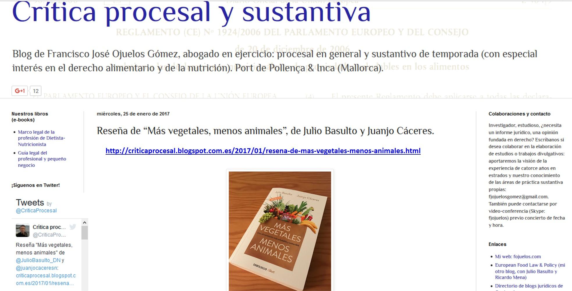 """Reseña de """"Más vegetales, menos animales"""" en Crítica Procesal"""