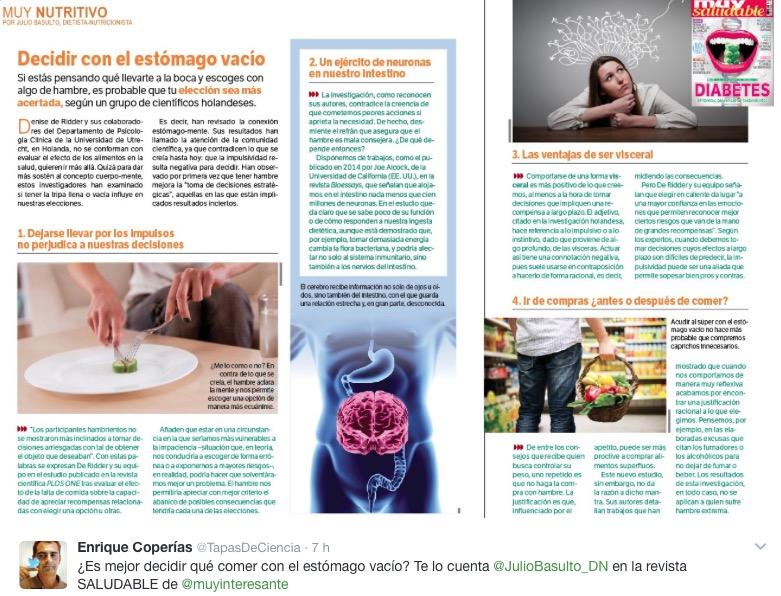 """Decidir con el estómago vacío (revista """"Muy Saludable"""" -Muy Interesante- número 10) (fragmento)"""