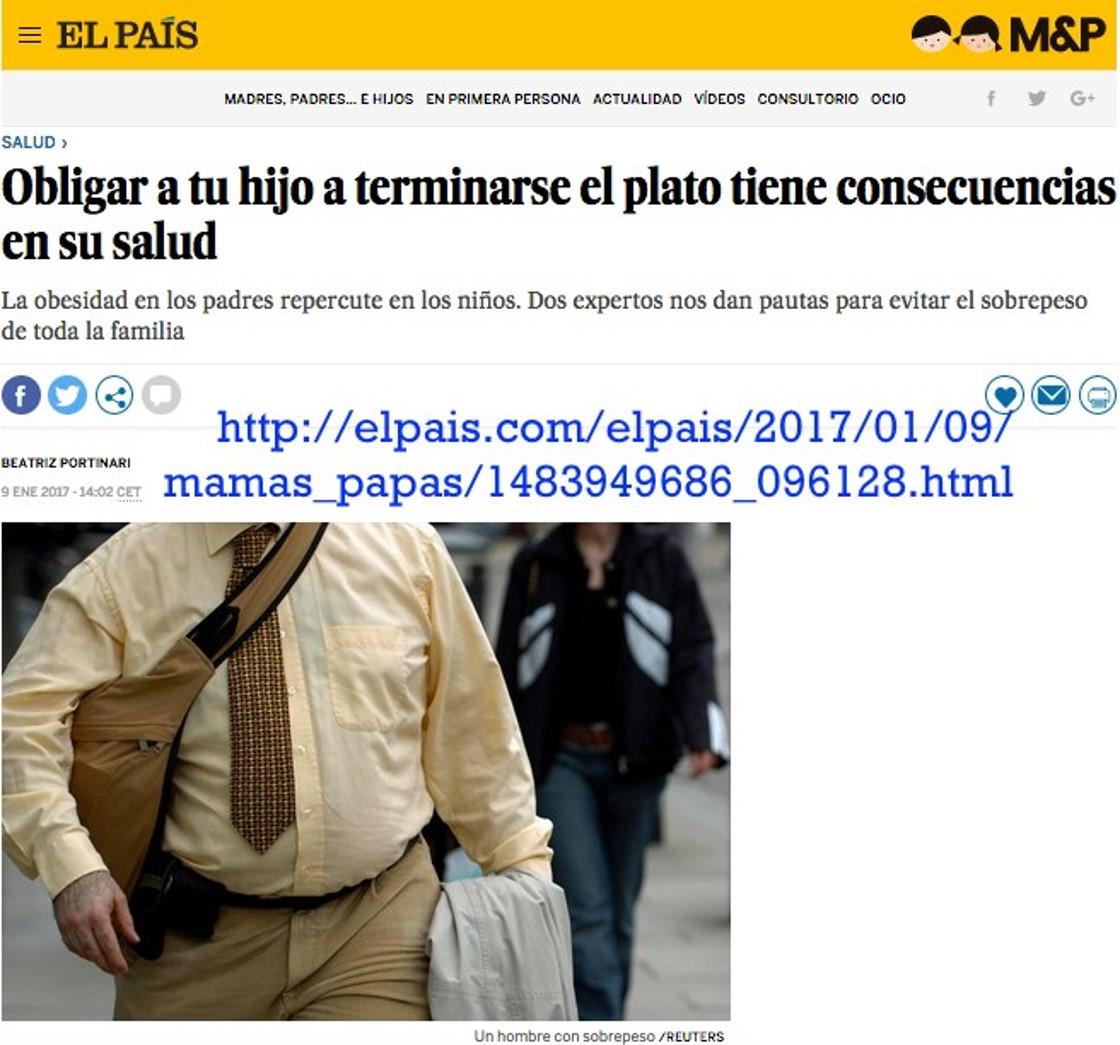 """""""Obligar a tu hijo a terminarse el plato tiene consecuencias en su salud"""". Entrevista de Beatriz Portinari en El País"""