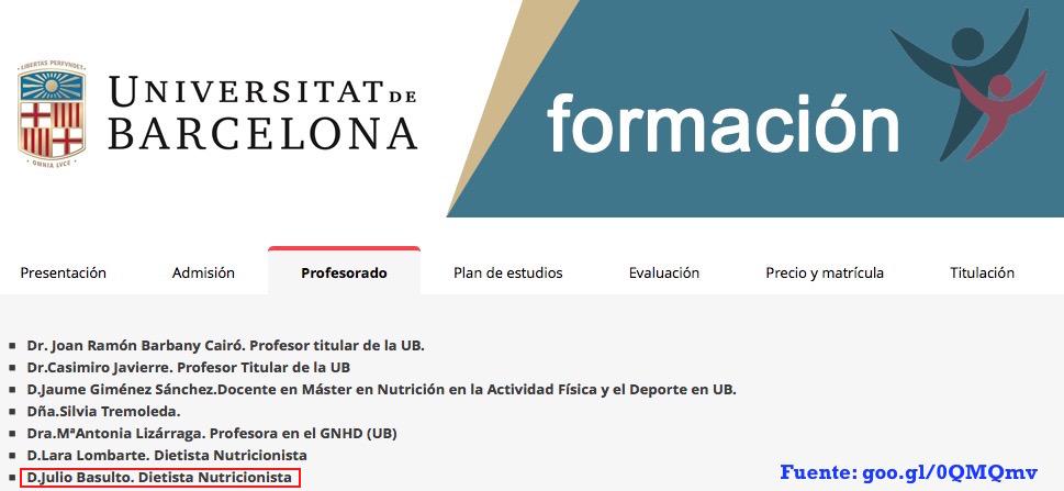 """""""Perfeccionamiento en Nutrición deportiva"""", curso de extensión universitaria de la UB"""