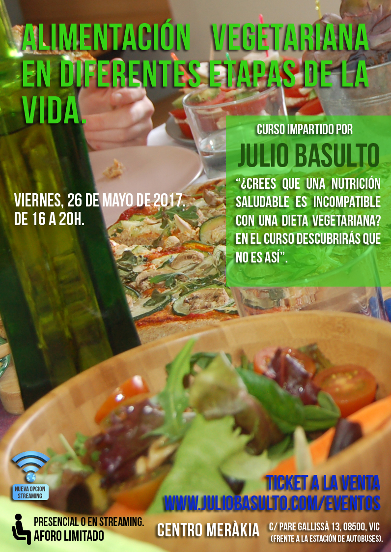 Alimentación vegetariana en diferentes etapas de la vida. Curso presencial y online.