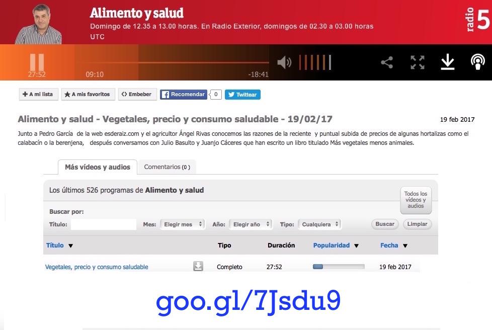 Más Vegetales, Menos Animales en Radio 5 (con Teo Sánchez) (Podcast) 19/02/2017