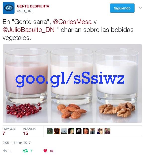 """Bebidas vegetales en """"Gente Sana"""" (Gente despierta) (Podcast)"""