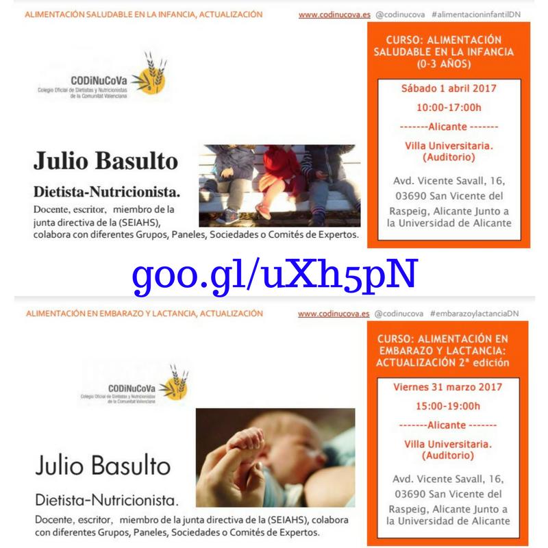 Dos cursos con el Colegio Oficial de Dietistas y Nutricionistas de la Comunitat Valenciana (31/03/2017 y 01/04/2017)