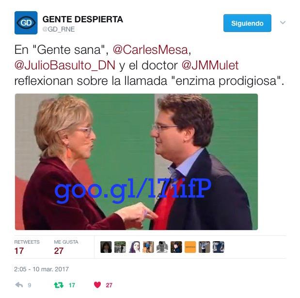 """La enzima prodigiosa, con Miguel Mulet en """"Gente Sana"""" (Gente despierta) (Podcast)"""