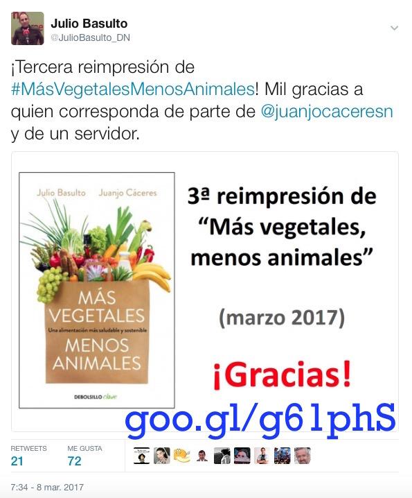 """¡Tercera reimpresión de """"Más vegetales, menos animales""""!"""