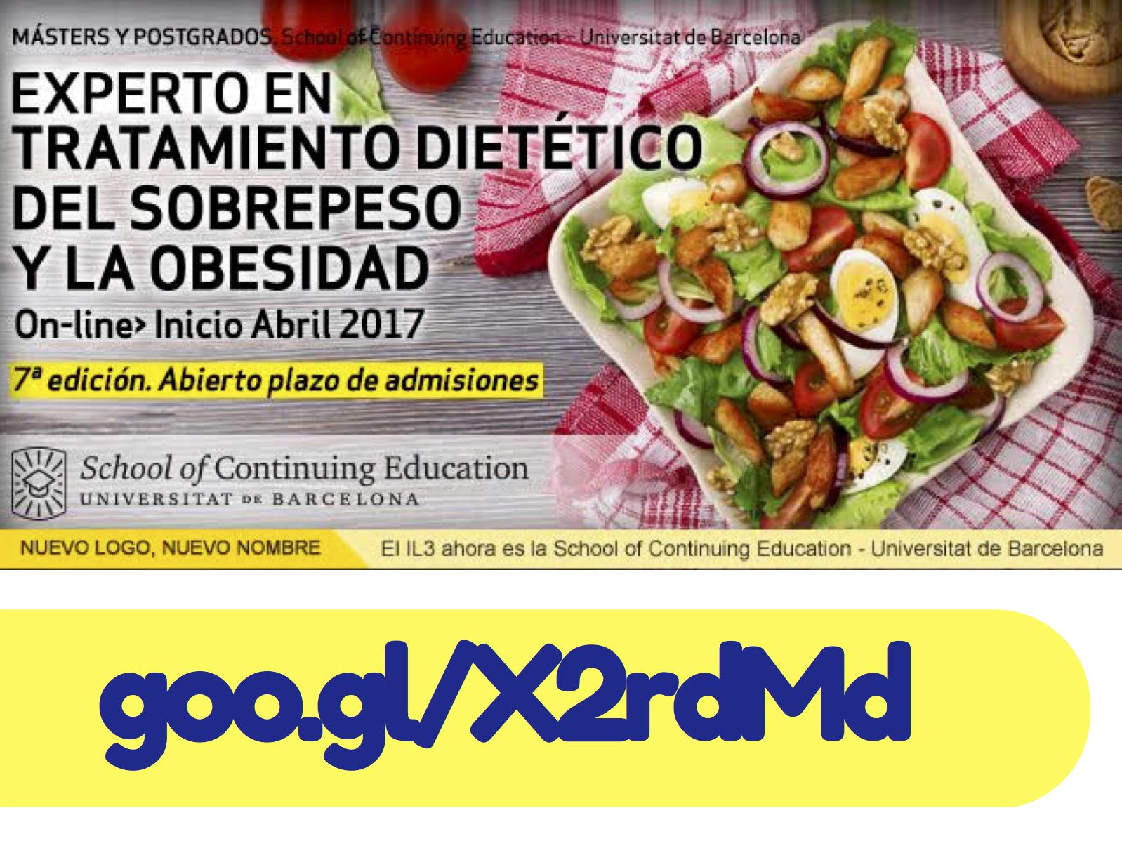 Curso de especialización online: Experto en Tratamiento Dietético del Sobrepeso y la Obesidad (Universidad de Barcelona)