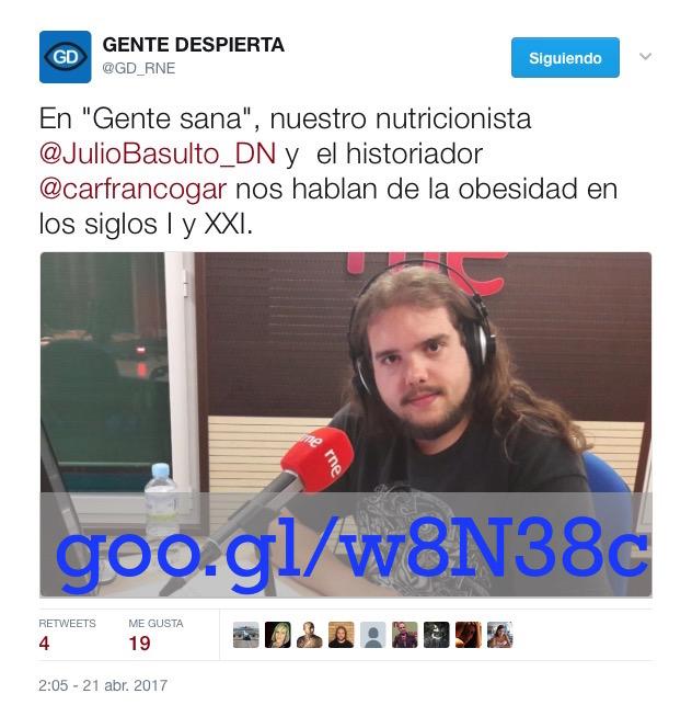 """Obesidad en los siglos I y XXI. Carlos Franco en """"Gente Sana"""" (Gente despierta) (Podcast)"""