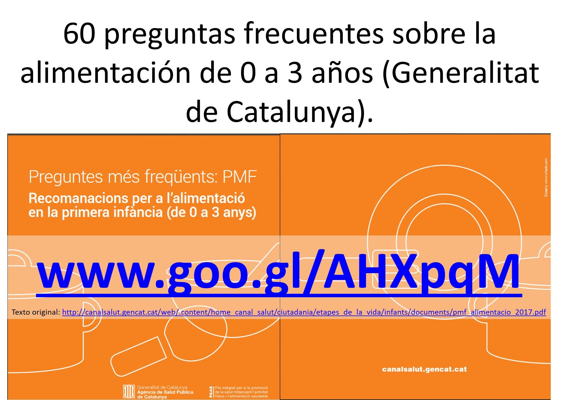 60 preguntas frecuentes sobre la alimentación de 0 a 3 años (Generalitat de Catalunya)