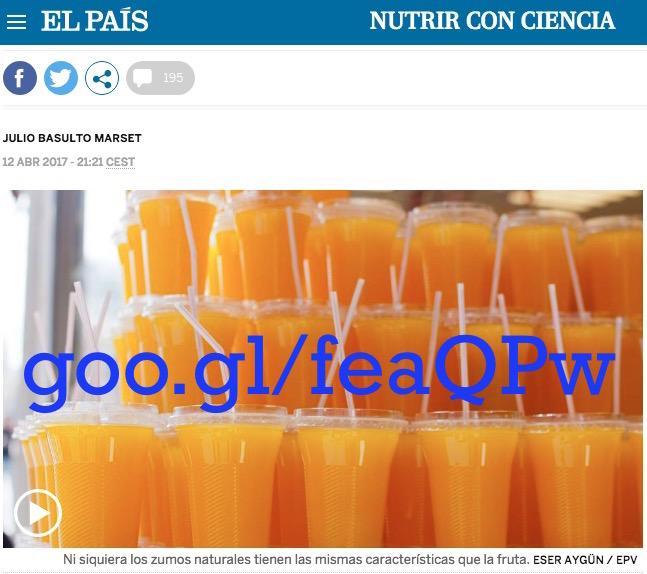 """El zumo de fruta no es """"fruta"""", ni siquiera si es casero (artículo para El País)"""