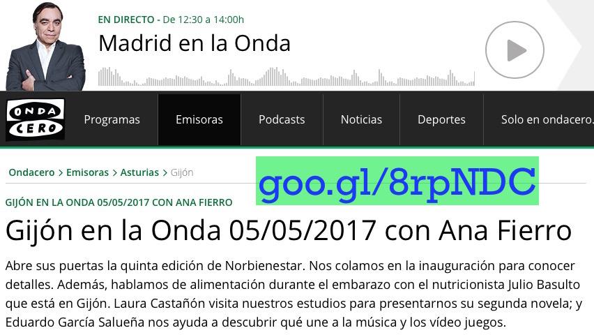 Alimentación durante el embarazo. Entrevista para Gijón en la Onda (Onda Cero)