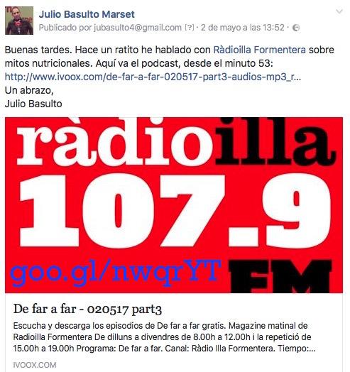 Mitos nutricionales: entrevista para Ràdioilla Formentera