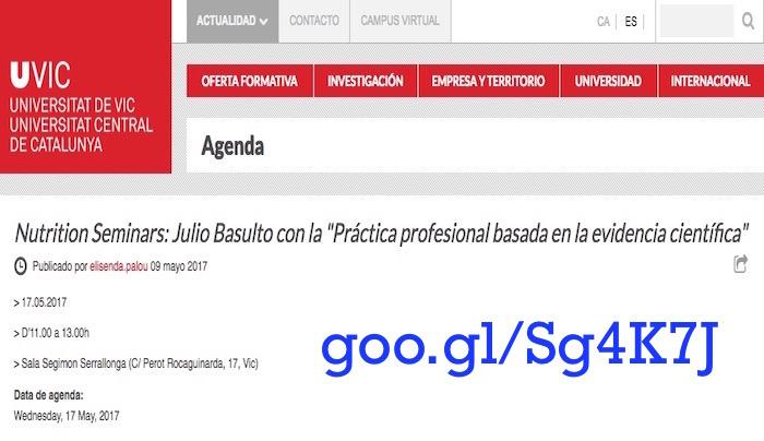 """Seminario nutricional: """"Práctica profesional basada en la evidencia científica"""" (UVIC)"""