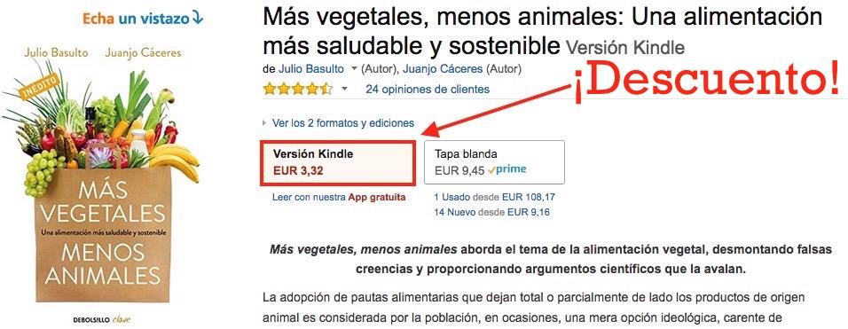 """¡Descuento en Amazon! """"Más Vegetales, Menos Animales"""" (Versión Kindle)"""