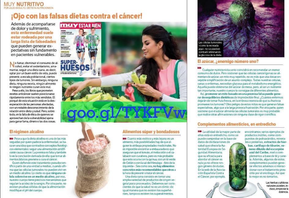 """¡Ojo con las falsas dietas contra el cáncer!, en Estar Bien de Muy Interesante, sección """"Muy nutritivo"""""""
