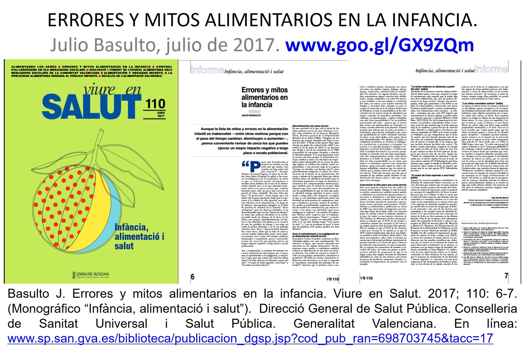 Errores y mitos alimentarios en la infancia (revista Viure en Salut, Generalitat Valenciana).