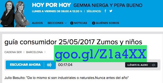 """""""Guía consumidor – Zumos y niños"""", entrevista para """"Hoy por hoy"""" (Cadena Ser)"""