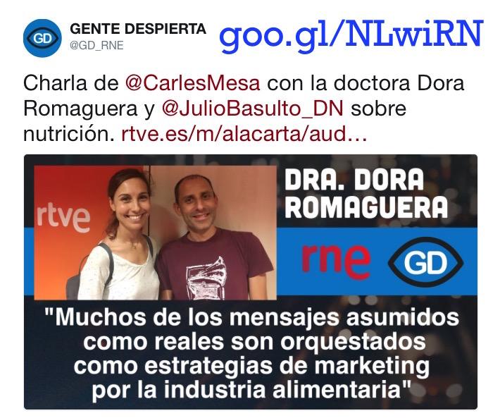 "Dora Romaguera en ""Gente Sana"" (Gente Despierta) (Podcast)"