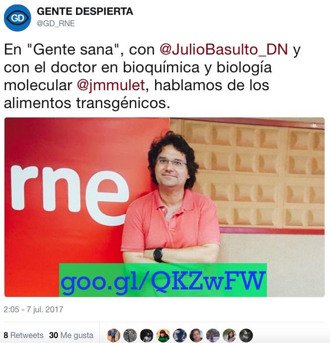 """Transgénicos, con José Miguel Mulet en """"Gente Sana"""" (Gente despierta) (Podcast)"""