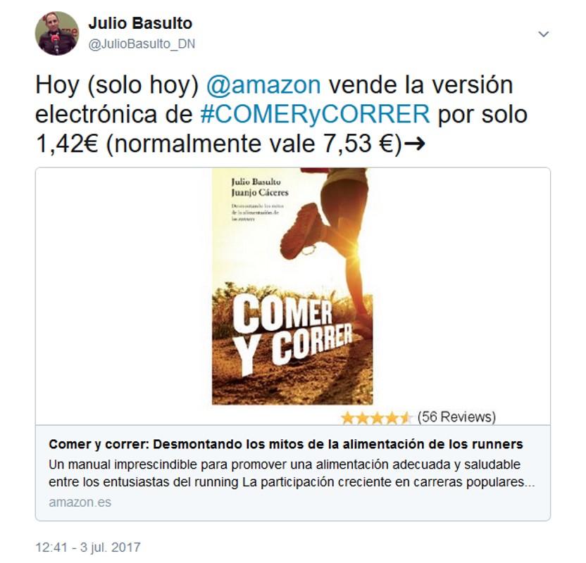 Hoy Amazon vende la versión electrónica de #COMERyCORRER por solo 1,42€