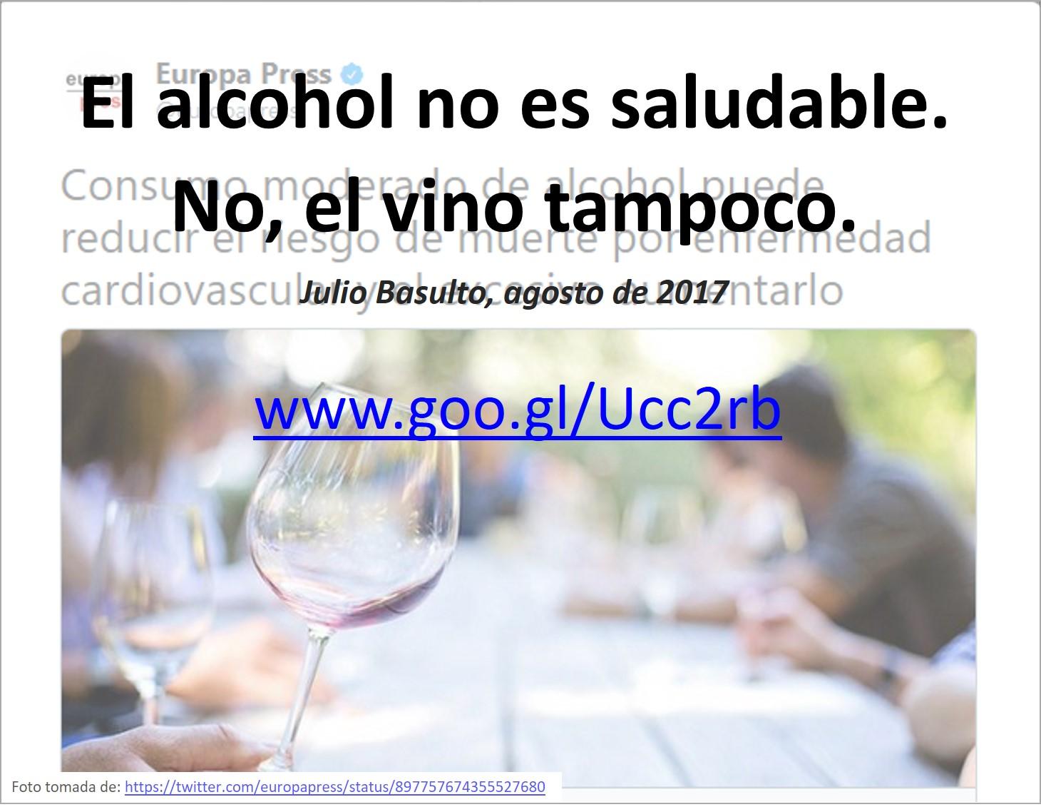 El alcohol no es saludable. No, el vino tampoco.