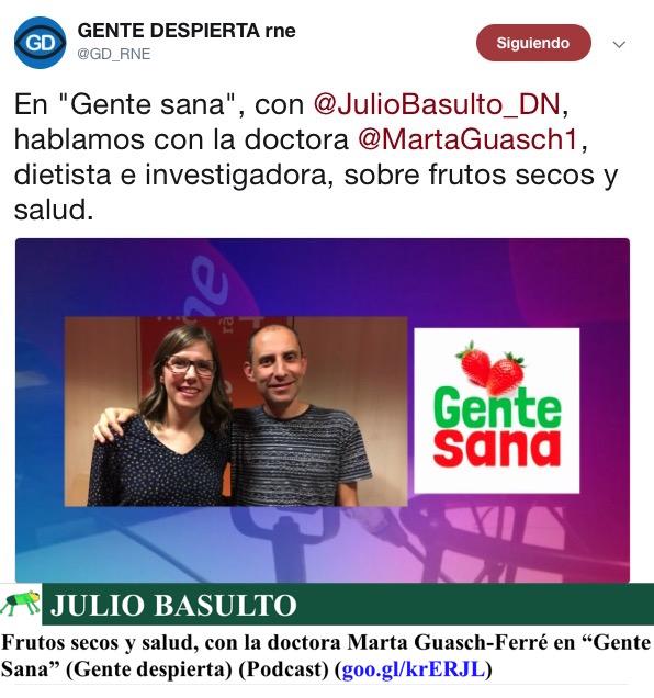 """Frutos secos y salud, con la doctora Marta Guasch-Ferré en """"Gente Sana"""" (Gente despierta) (Podcast)"""