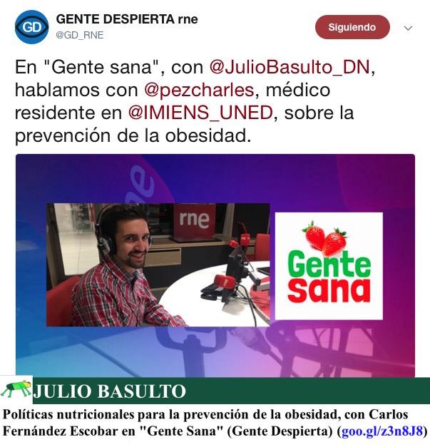 """Políticas nutricionales para la prevención de la obesidad, con Carlos Fernández Escobar en """"Gente Sana"""" (Gente Despierta)"""