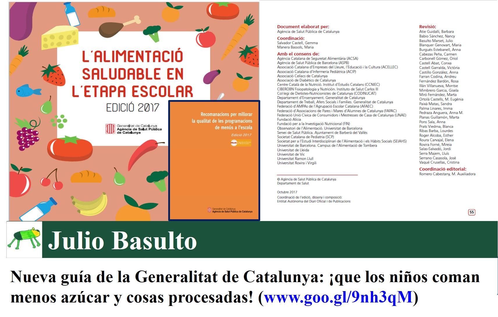 Nueva guía de la Generalitat de Catalunya: ¡que los niños coman menos azúcar y cosas procesadas!