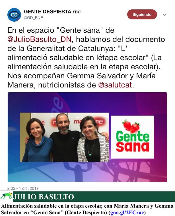 """Alimentación saludable en la etapa escolar, con María Manera y Gemma Salvador en """"Gente Sana"""" (Gente Despierta)"""