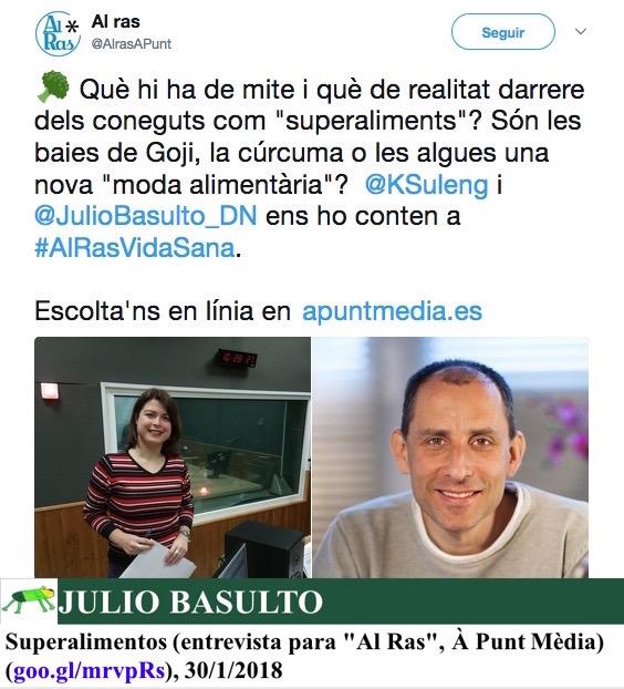 "Superalimentos (entrevista para ""Al Ras"", À Punt Mèdia)"