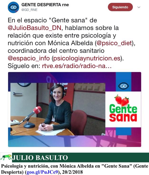 """Psicología y nutrición, con Mónica Albelda en """"Gente Sana"""" (Gente Despierta)"""