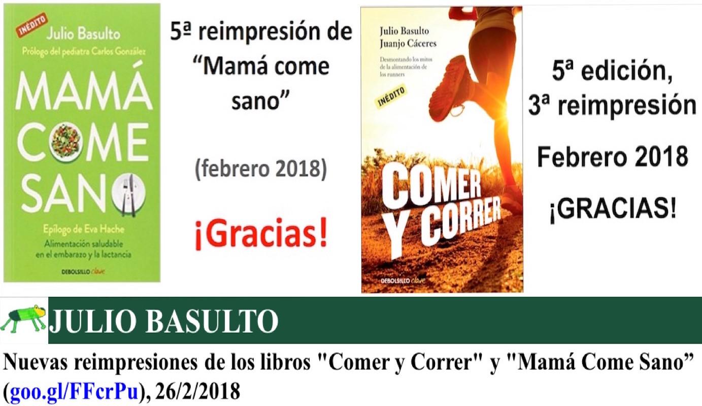 """Nuevas reimpresiones de los libros """"Comer y Correr"""" y """"Mamá Come Sano"""""""