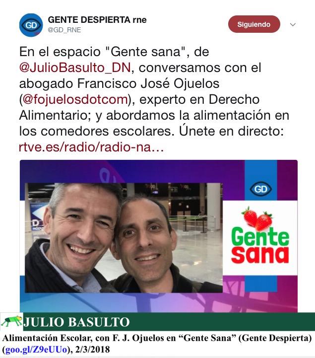 """Alimentación Escolar, con F. J. Ojuelos en """"Gente Sana"""" (Gente Despierta)"""